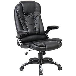 LIFE CARVER Sofá de cuero de lujo con respaldo alto reclinable silla de oficina Estudio de escritorio giratorio de computadora (negro)