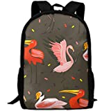 best& Stylish Cartoon Summer Flamingo Laptop Backpack School Backpack Bookbags College Bags Daypack