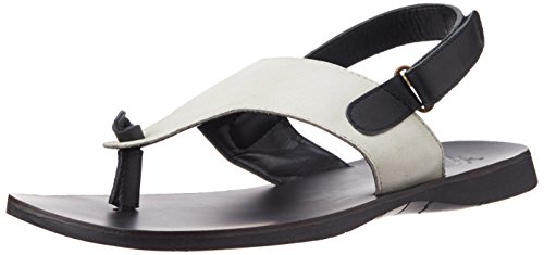 f63970a8f UCB Men s Black and White Leather Flip Flops Thong Sandals - 11 UK India (