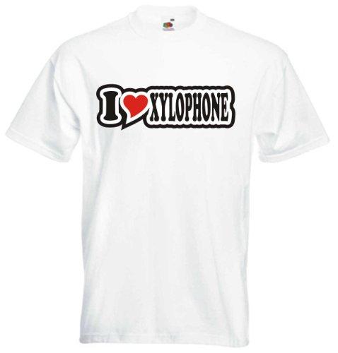 T-Shirt Herren - I Love Heart - weiß I Love Xylophone XXL - Fasching Party Fun Geschenk Sport
