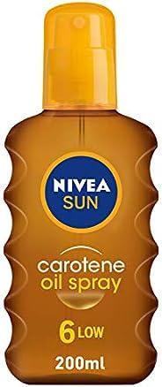 NIVEA SUN Carotene Tanning Oil Spray, Vitamin E & Jojoba Oil, SPF 6, 2