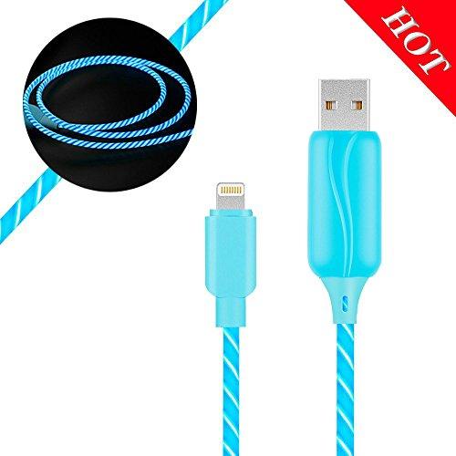 JIAMA LED Leuchtet Datenkabel 3ft 360 Grad EL-Licht Sichtbares Glühendes Telefon USB-Ladekabel Kompatibel für iPhone X / 8/8 Plus / 7/7 Plus / 6s / 6s Plus / 6/6 Plus / 5s / 5c / 5(Blau)