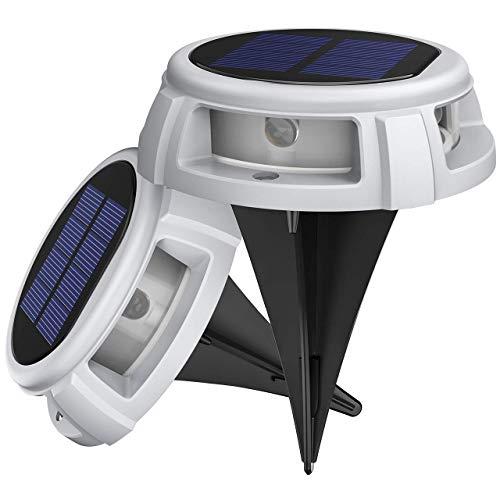 LITOM Solar Bodenleuchten Außen,4LED Bodenlampen mit 4 Beleuchtungsmodi,IP68 Wasserdicht,Automatisch Schalten,stabile dauerhafte Bodenleuchten für Aussen,Terrasse,Garten,Rasenweg,Einfahrt (weiß)