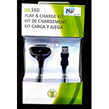 New World Play and Charging Connecting Cable for Xbox 360 Wireless Controller (Black)