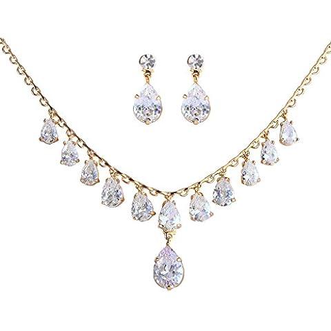 EleQueen Gold-tone Prong completa delle donne zirconi ciondolanti Teardrop nuziali della collana orecchini set Cancella