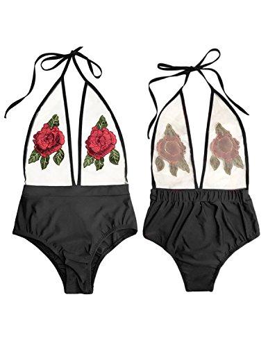 MODETREND Donna Costumi interi Ricamo Halterneck Costume da Bagno Intero Prospettiva Vita alta Bikini Beachwear Mare e piscina Nero 1