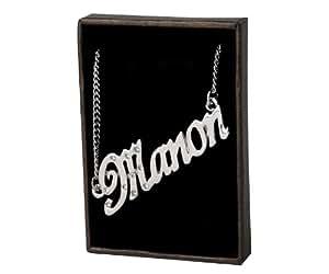 Nom Colliers Manon – Collier personnalisé Plaqué or Blanc 18 carats, Cristal Swarovski, un cadeau pour Noël, la St Valentin ou la Fête des Mères, vendu avec sac et boitier cadeaux.