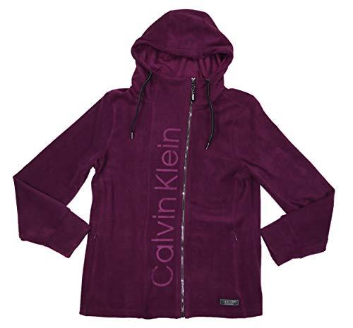 Calvin Klein Asymmetrical Full Zip Logo Drawstring Hoodie Sweatshirt Burnout Zip Hoodie