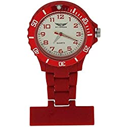Prince London Rubberised Red Rotating Bezel Unisex Nurses Fob Watch PI-2032