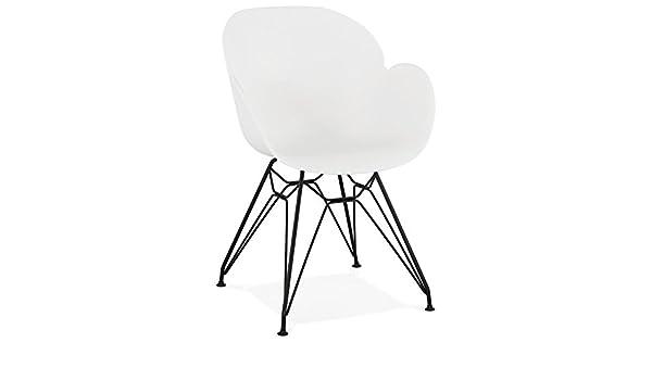 Alterego Chaise Design 'SATELIT' Blanche Style Industriel