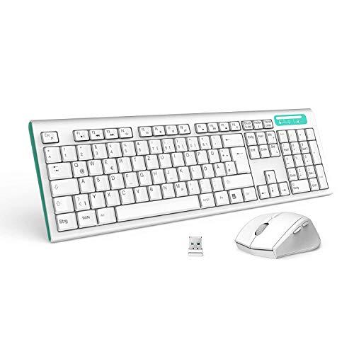 Jelly Comb MK09 Full-Size Ergonomische Kabellose Deutsche Tastatur und Maus / Wireless Combo Tastatur und Maus (QWERTZ, deutsches layout) für Windows / iOS / Android, Weiß und Blau