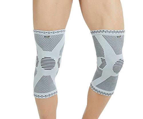Neotech Care - Stützende Kniebandage aus Bambusfaser (1 Paar) - leichtes, elastisches, bequemes & atmungsaktives Material - für Damen, Herren & Jugendliche - rechts oder links tragbar - Grau - XL