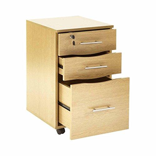 Rollcontainer Mobiler 3 Schubladen Rollschrank abschließbar aus Buche - Schreibtisch Sockel Einheit für den Schreibtisch 40 x 44 x 65 (W x T x H)
