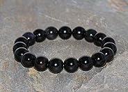 Pulsera de Obsidiana Negra Arcoíris de 10 mm Pulsera de Piedras Preciosas Genuinas Grado AAA Pulsera Unisex de