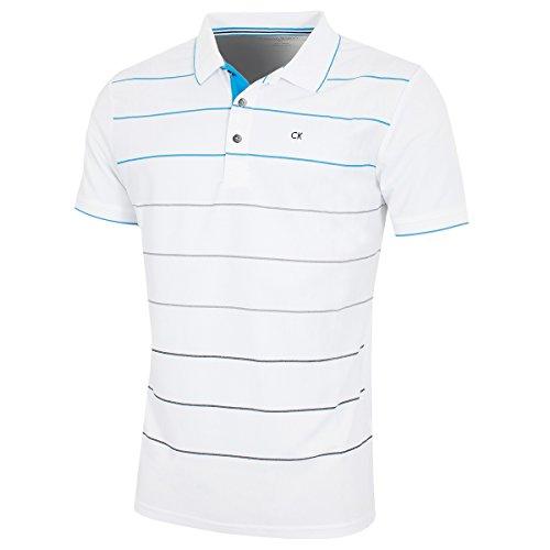 Calvin Klein Weiße Körper (Calvin Klein Golf Herren Lazer atmungsaktiv -Polo-Hemd - Weiß Azure - XL)