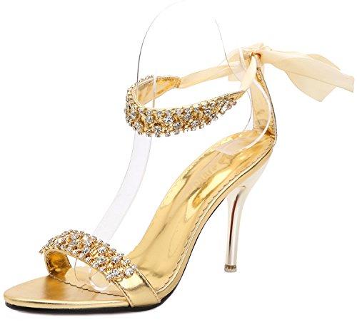 Heels SEXYHER Fashion 2.8in Bureau de la dentelle de la femme jusqu'¨¤ Sandales Chaussures Or