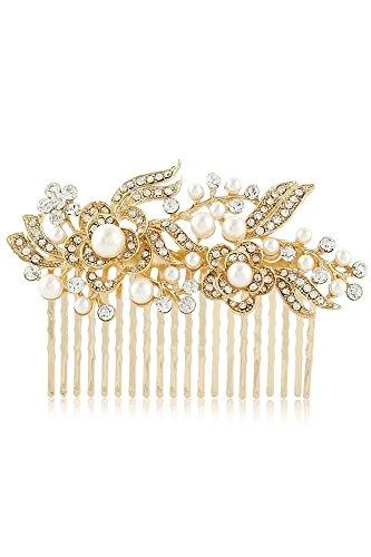 Vococal® Bridal Peigne Couvre-Chef Strass Perle Floral et Style Bijoux Accessoires pour Cheveux Couleur Or
