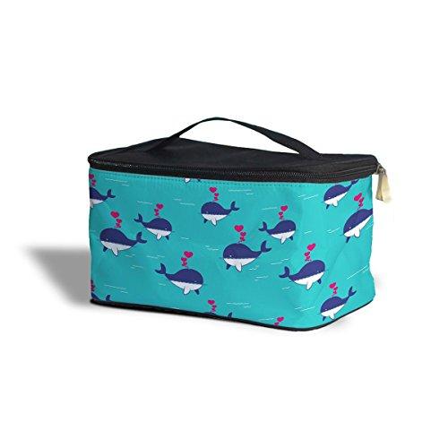 Baleine je toujours love vous cosmétiques maquillage étui de rangement – Fermeture éclair sac de voyage, bleu, One Size Cosmetics Storage Case