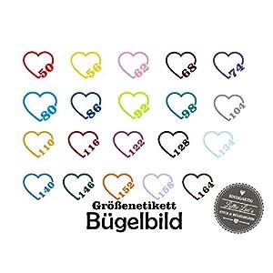 Bügelbild Aufbügler Etikett Label Herz Größe Size in Flex, Glitzer, Flock, Effekt in Wunschgröße