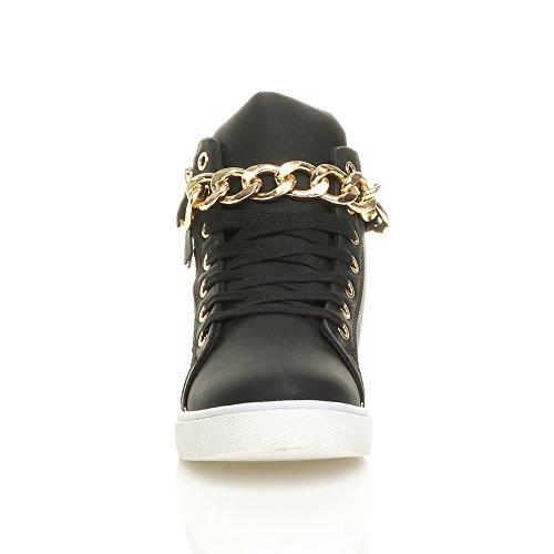 Femmes talon bas chaîne or bottines haut chaussures de tennis baskets pointure Noir
