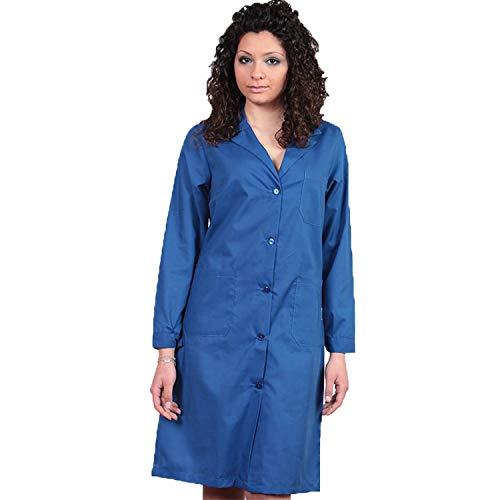 Fratelldiitalia camice donna cotone lavoro estetista alimentari pulizie scuola coloniali made in italy (42, azzurro)