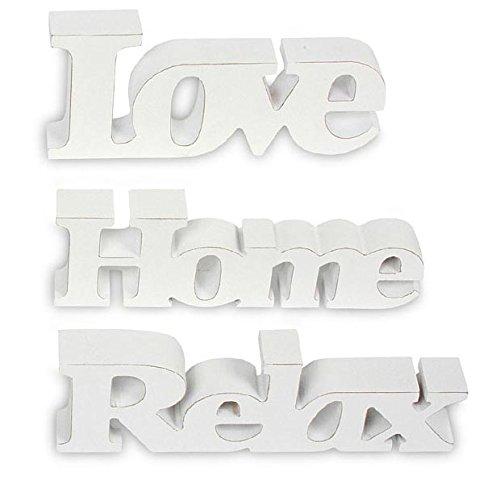 3er Set Schriftzug aus Holz Love Home Relax - weiß altweiß shabby vintage - Aufsteller Buchstaben Bild Dekoration Deko (Schriftzug)
