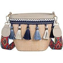 Tianya - Bolso de Paja Retro Estilo de Las Mujeres National Pompom Moda Durable Hermoso Bolso