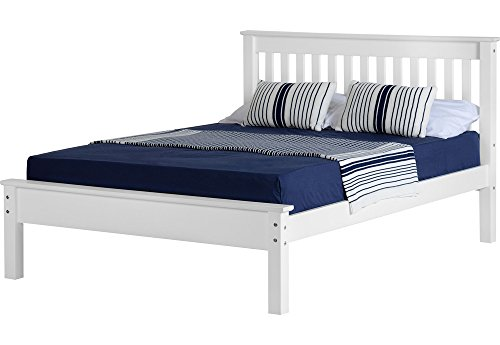 Seconique Monaco Low Foot End Wooden Bed King Size Bed- White