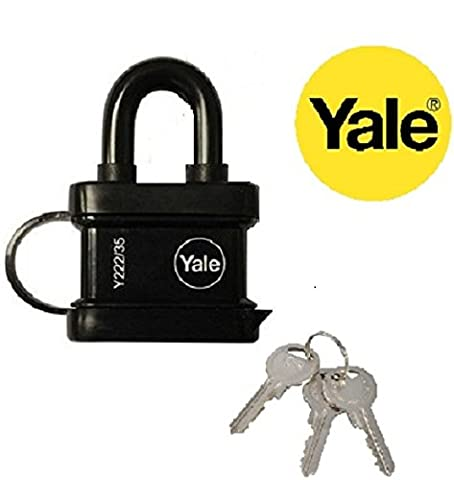 Yale Essentials High Quality 35mm Weatherproof Padlock Waterproof Yale Locks for Outdoor Security Ideal for Keeping Your Possessions Safe Includes a Set of Three Keys. (1)