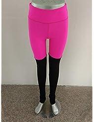 HATCHMATIC Yoga de Secado rápido Pantalones Leggins ORT Mujeres de la Aptitud del Remiendo sólido ort Leggings Yoga Pantalones Ropa Deportiva Mujer Gimnasio: Hotpink, L