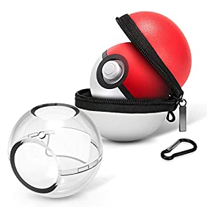 HEYSTOP Carrying Case for Poke Ball Plus, New 2018 Switch Pokeball Protective Case Bag and Cover,Protective Hard Zip Pouch with Keychain Carabiner Belt Clip & Inner Pocket for Neck Strap