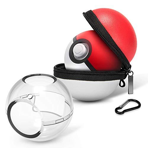 HEYSTOP Tasche für Poke Ball Plus, Pokeball Plus Hülle Tragetasche und Kunststoff Schutzhülle für Pokémon - Let's Go Pikachu Eevee Spiel, Schutzhüllen für Nintendo Switch
