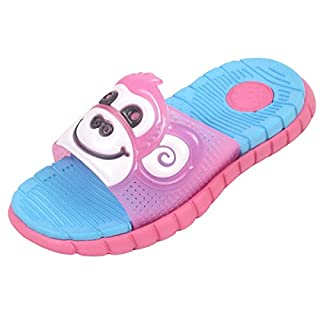 Kids Girls Boys FLIP Flops Monkey Slippers Infant Sliders Slides Sandals Sizes (UK 8/EU 26, Plum/Royal Blue)