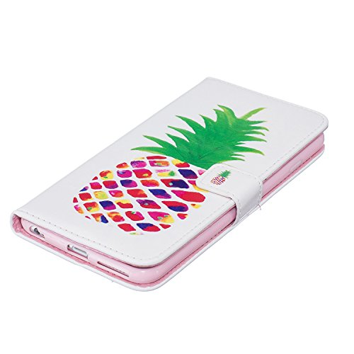 iPhone 6S Strass Hülle Cover,iPhone 6 Schutzhülle,Niedlich Pink Bär Ballon Muster Lanyard/Strap Bling Shiny Sparkle Wallet Brieftasche Handyhülle Etui im Book Style Diamont Leder Magnetverschluss Flip Pineapple