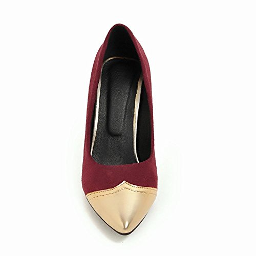 Mee Shoes Damen Stiletto mehrfarbig Nubukleder Pumps Rot