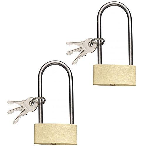 COM-FOUR® 2er Set Vorhängeschloss mit langen Bügel, aus Messing, 50mm, mit je 3 Schlüsseln