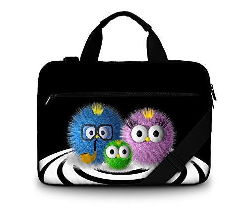 Luxburg® Design Gepolsterte Business- / Laptoptasche Notebooktasche bis 17,3 Zoll mit Schultergurt, Mehrzwecktasche, Motiv: putzige Familie