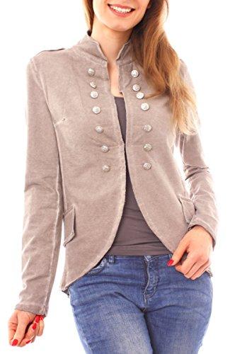 Damen Vintage Uniform Military Admiral Style Sweat Jersey Blazer Sakko Jacke Kurz Knopfleiste Offen Einfarbig Fango Taupe M 38 (L) (Blazer Jacke Taupe)