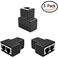 HUACAM HCM69 RJ45 Splitter Adapter 1 bis 2 Dual Female Port, Cat 5 / Cat 6 LAN Ethernet Socket Splitter Stecker Adapter mit Shield, Schwarz (3 Pack)