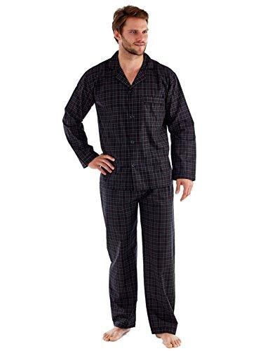Herren Poly Baumwolle Pyjama, Nachthemd, Shorts Schlafanzug, Kleider, schwarz/rot Schwarz / Rot prüfen Pyjamas