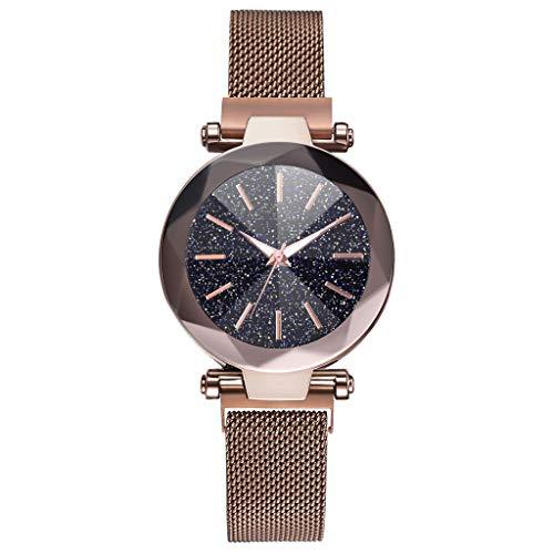 friendGG Mode Neu Luxus Konvexen Glas Quarz Mesh GüRtel Mit Magnetschnalle Damenuhr Frauen Mode Einfache Uhr UltradüNne Sternenhimmel Quarz Analog Lederband Damen Armbanduhr