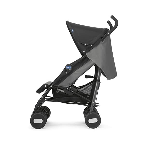 Chicco Echo Twin Stroller Coal - Black  With elliptical frame tubes in contemporary angles Features elegant stay clean wheels with repeat logo details to match name seat graphic Lockable front swivel wheels 4