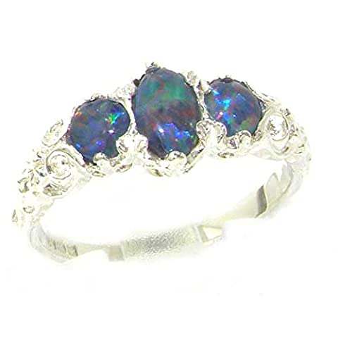 Luxury Sterling Silver Ladies Opal Trilogy Ring - Size L 1/2 - Finger Sizes L to Z Available - Ideal gift for for Christmas, Birthday, Valentines or Mothers