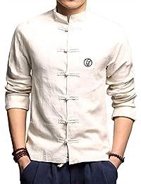 Traje Tang De Manga Larga para Hombre Chaquetas Kungfu De Estilo Chino Camisa Impresión Abrigos De