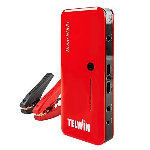 Telwin Drive 9000 Avviatore Compatto al Litio 12V & Power Bank, Rosso
