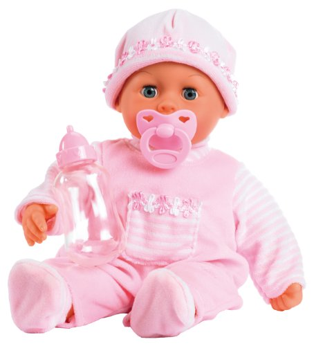 Bayer Design 15inch First Words Baby Doll in Lovely Outfit (Pink)