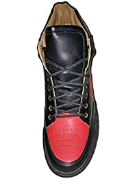Goose Bird Men's Black & Red PU Sneaker Shoes Size-9