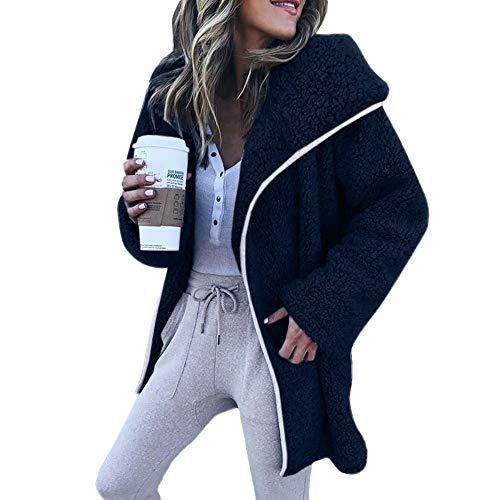 Smonke Damen Sexy Winter Tops Langarm Freizeit Pullover Hoodies Cardigan Jacke Behalten Sie warmes Fell Polyester Mäntel Kunstpelz Frauen Bluse (Blau Pyjama Stricken)