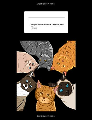 Composition Notebook - Wide Ruled: Blank Lined Exercise Book - Sitting Cats Looking Down Circle Cute Kitty Lover Girls Gift - Black Wide Ruled Paper - ... Teens, Boys, Girls - 7.5