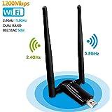 Clé Wifi 1200Mpbs SUMGOTT USB Adaptateur WiFi USB 3.0 Longue portée sans fil double bande 5Ghz 867Mbps soutien pour PC fenêtre XP / Vista / 7/8/10, Max OSX(Cartes réseaux PCMCIA)